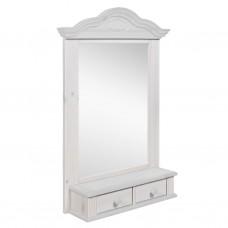 Полка - зеркало модель Синди, Белый воск