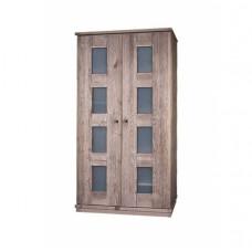 Шкаф для одежды 2-х дверный Доминика, браширование: белый с патиной/мокка