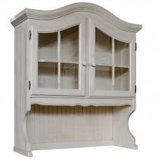 Секция с витриной Лотос (2 стеклянные двери), браширование: белый с патиной/мокка
