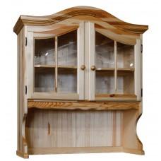 Секция с витриной Лотос (2 стеклянные двери), сосна натуральная, Искусственное старение