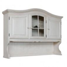 Секция с витриной Лотос (3 стеклянные двери), браширование: белый с патиной/мокка