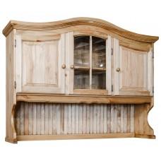 Секция с витриной Лотос (3 стеклянные двери), сосна натуральная, Искусственное старение