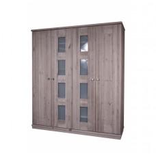 Шкаф для одежды 4-х дверный Доминика, браширование: белый с патиной/мокка