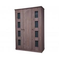 Шкаф для одежды 3-х дверный Доминика, браширование: белый с патиной/мокка